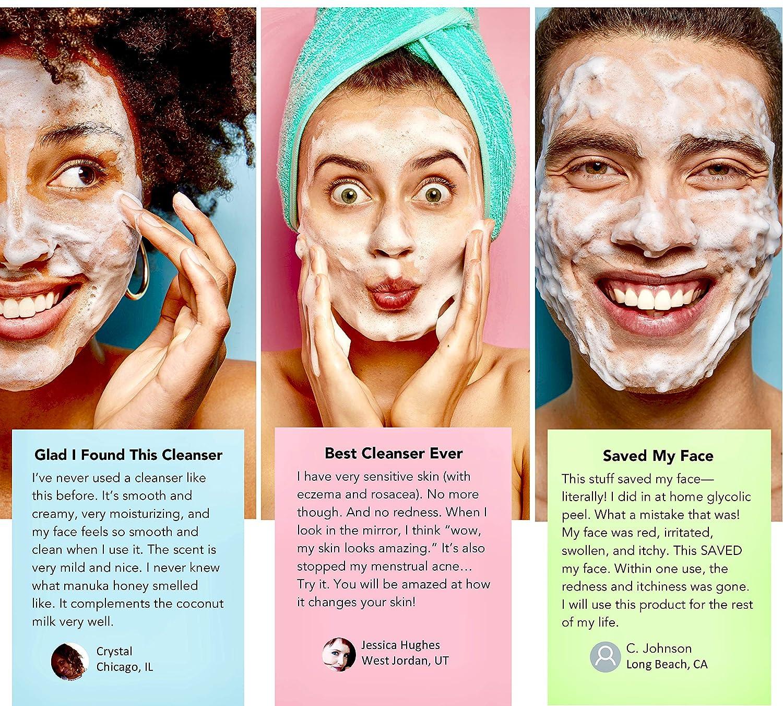 Amazon Com Lily Sado Coconut Milk Manuka Honey Natural Face Cleanser Organic Gentle Facial Wash Moisturizing Vegan Formula Gently Hydrates Moisturizes Reduces Pores Blackheads For All