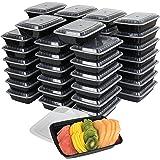 50 个装餐准备塑料微波食品容器带*盖 黑色 unknown