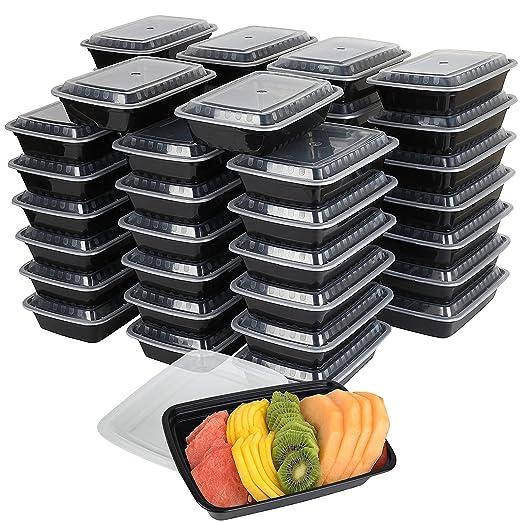 Pack de 50 envases de plástico para comida con tapa de seguridad ...