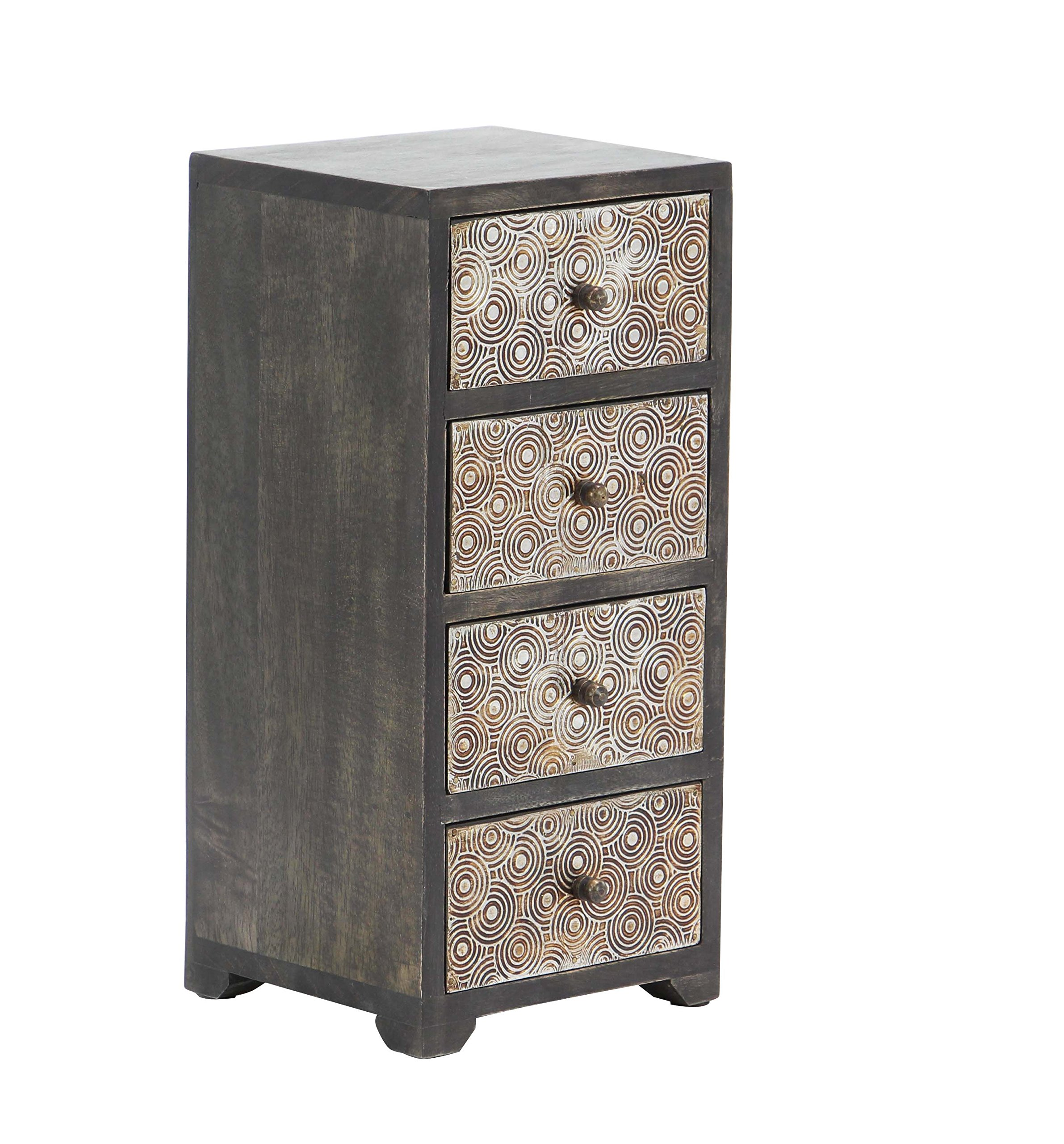 Deco 79 28791 Jewelry Chest Dark Brown, Tarnished Brass by Deco 79