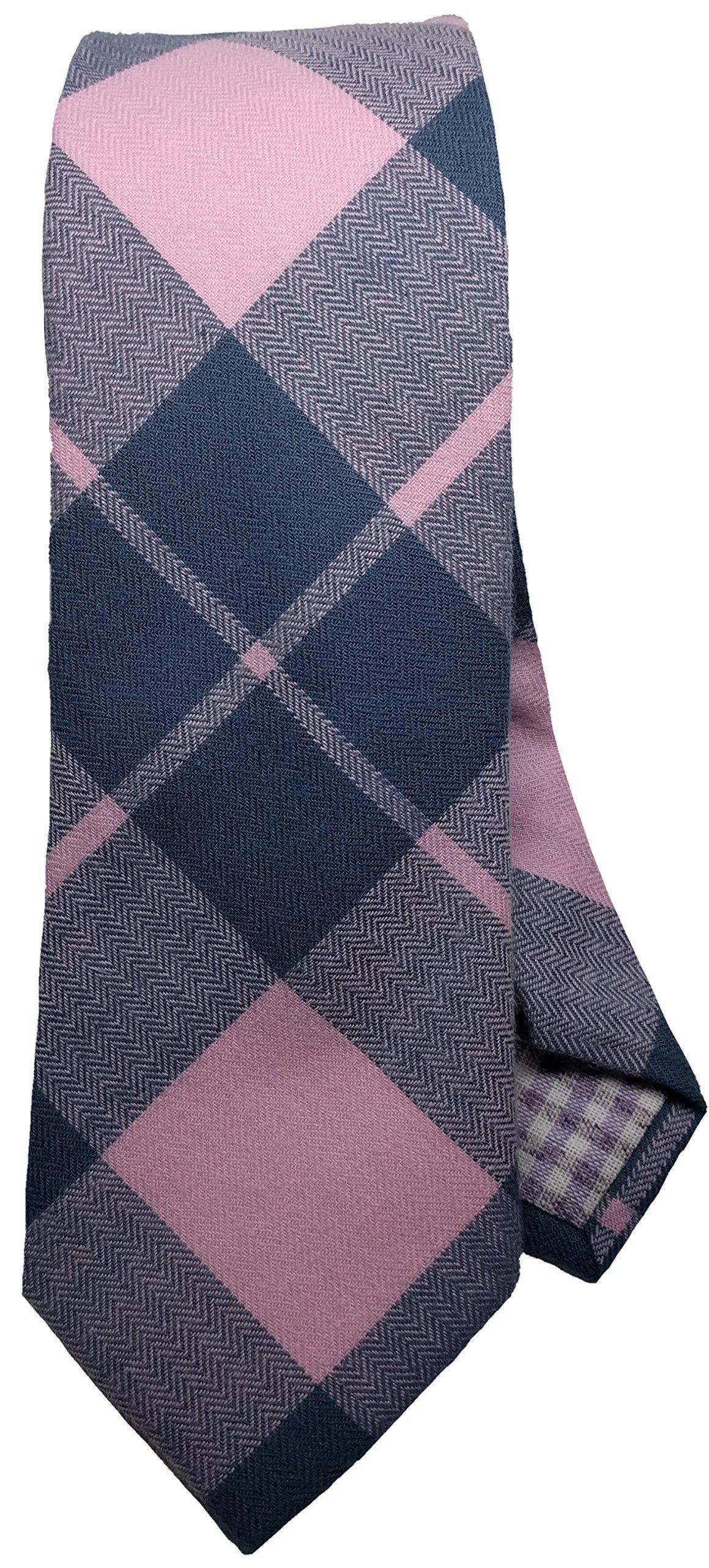 Cotton Plaid Tie Skinny Slim Men's Necktie (Pink)