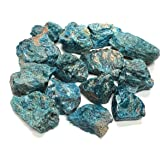 Zentron Crystal Collection: Blue Apatite Large 1 Natural Rough Stones and Velvet Pouch (1/2 Pound)