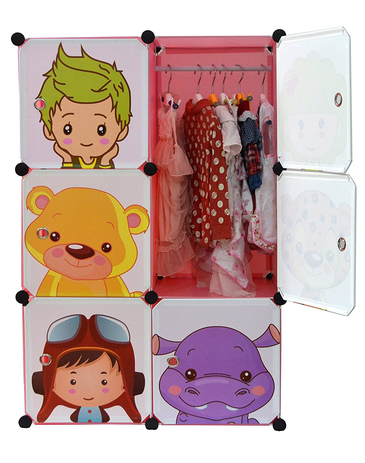 NEW Kids Wardrobe Childrens Storage Cabinet Boxes Character Design Cubes Pink Green White (Pink)