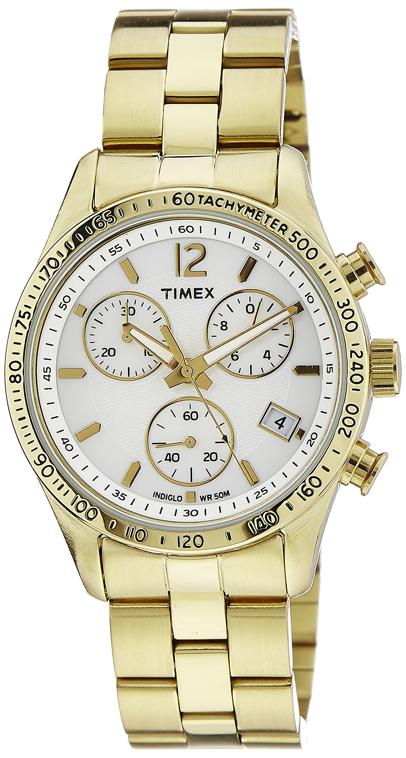 Timex Ameritus Chronograph White Dial Gold-tone Ladies Watch T2P058