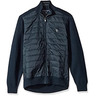 U.S. Polo Assn. Men's Quilted Nylon Fz Sweater W/Stripe Neck Sweater at Amazon Men's Clothing store