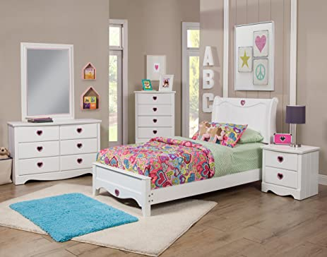 Amazon.com: Sandberg Furniture Sparkling Hearts Bedroom Set, Twin ...