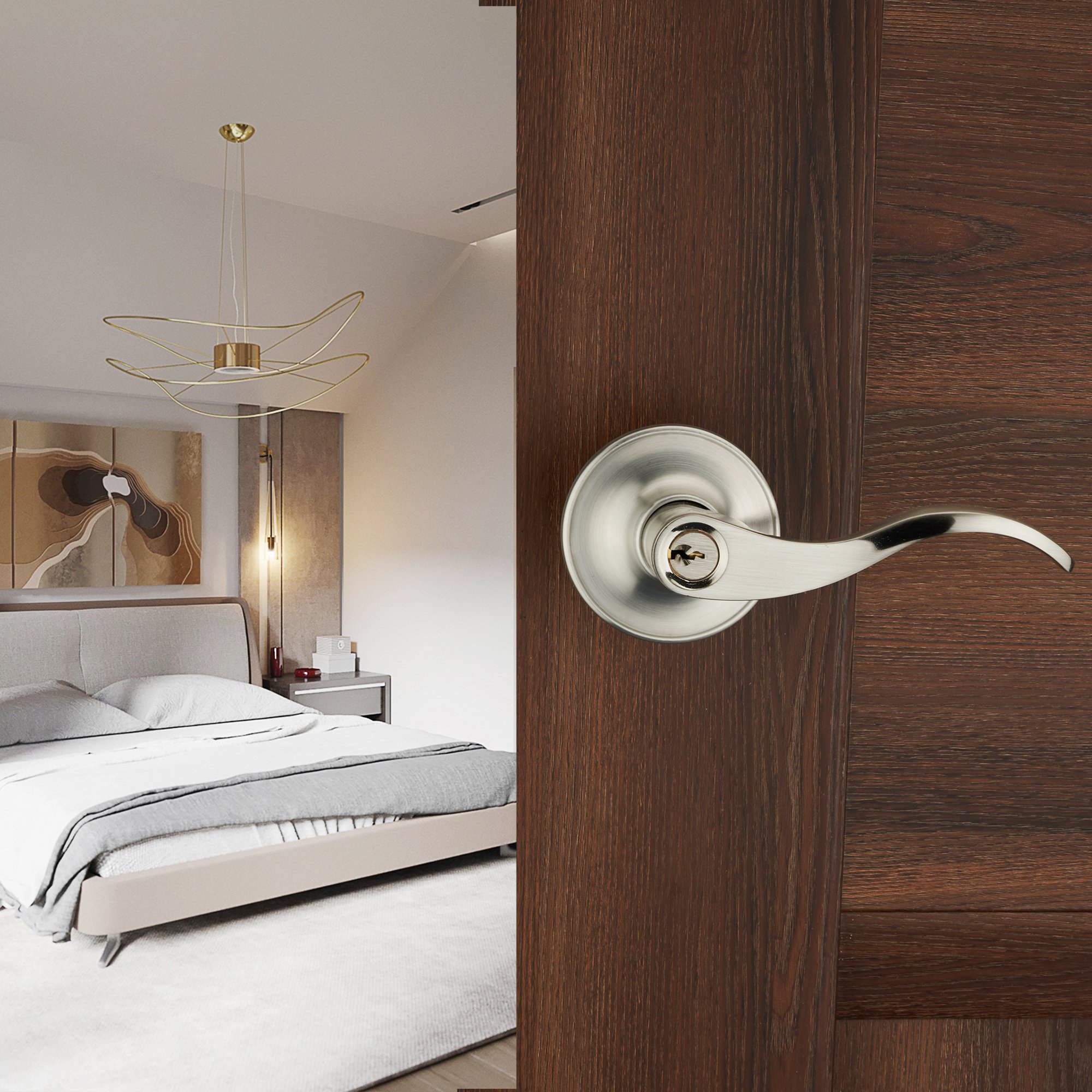 HENYIN Wave Lever Keyed Entry Door Lock/Door Knob Hardware Wave Handle and Closet Lockset (805SN-R) by HENYIN (Image #5)