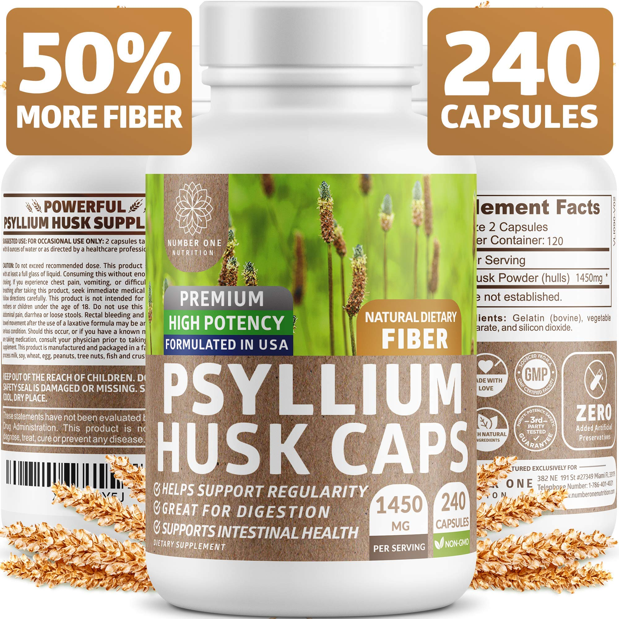 Premium Psyllium Husk Capsules [All Natural & Potent] - Powerful Soluble Fiber Supplement Helps Support Regularity & Digestion, Reduce Constipation, Lower Cholesterol & Support Weight Loss - 240 Caps by Number One Nutrition