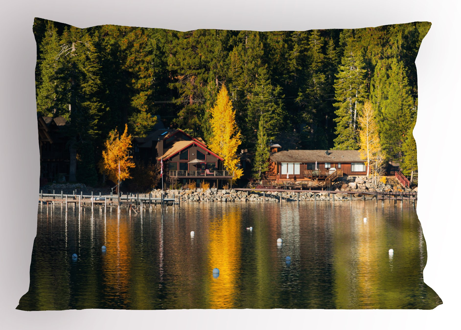 Ambesonne Lake Tahoe Pillow Sham, Carnelian Bay Photography Log Cabin in The Woods Holiday Destination Lakeside, Decorative Standard Queen Size Printed Pillowcase, 30 X 20 inches, Multicolor