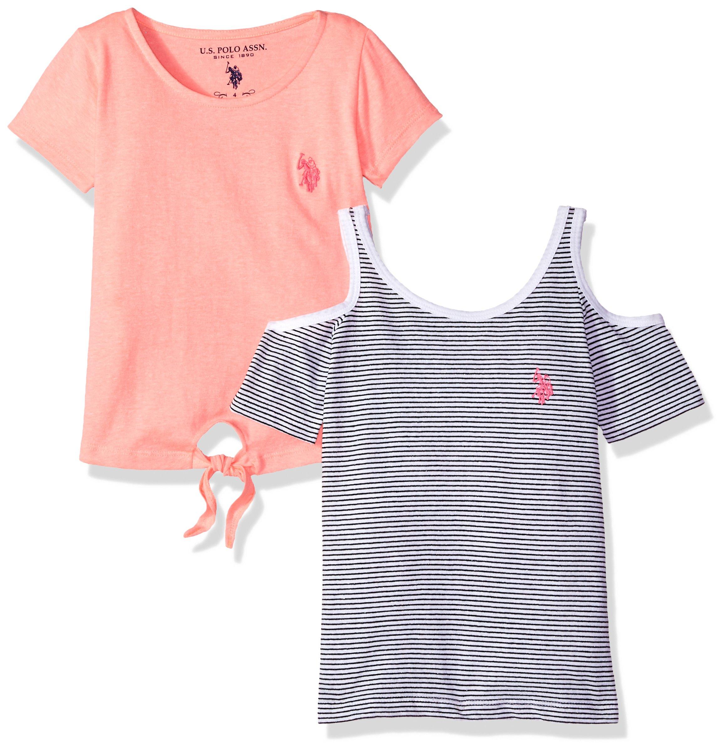 U.S. Polo Assn. Little Girls' T-Shirt and Tank Shirt Pack, Black/White Stripe Neon Coral Jersey Multi, 5/6