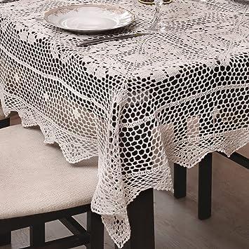 120x120 cm Quadratisch Creme Häkeltischdecke Tischdecke mit Feinstem ...