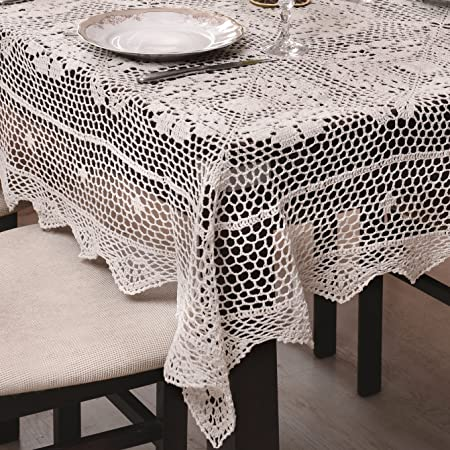 Cream Hkelti Tablecloth Tablecloth With Fine Crochet Pattern