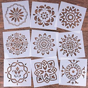 LOCOLO Mandala Reusable Stencil Set of 9 (6x6 inch) Painting Stencil, Laser Cut Painting Template for DIY Decor, Painting on Wood, Rocks and Walls Art