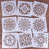 LOCOLO Mandala Reusable Stencil Set of 9 (6x6 inch) Painting Stencil, Laser Cut Painting Template for DIY Decor, Painting on Wood, Airbrush, Rocks and Walls Art