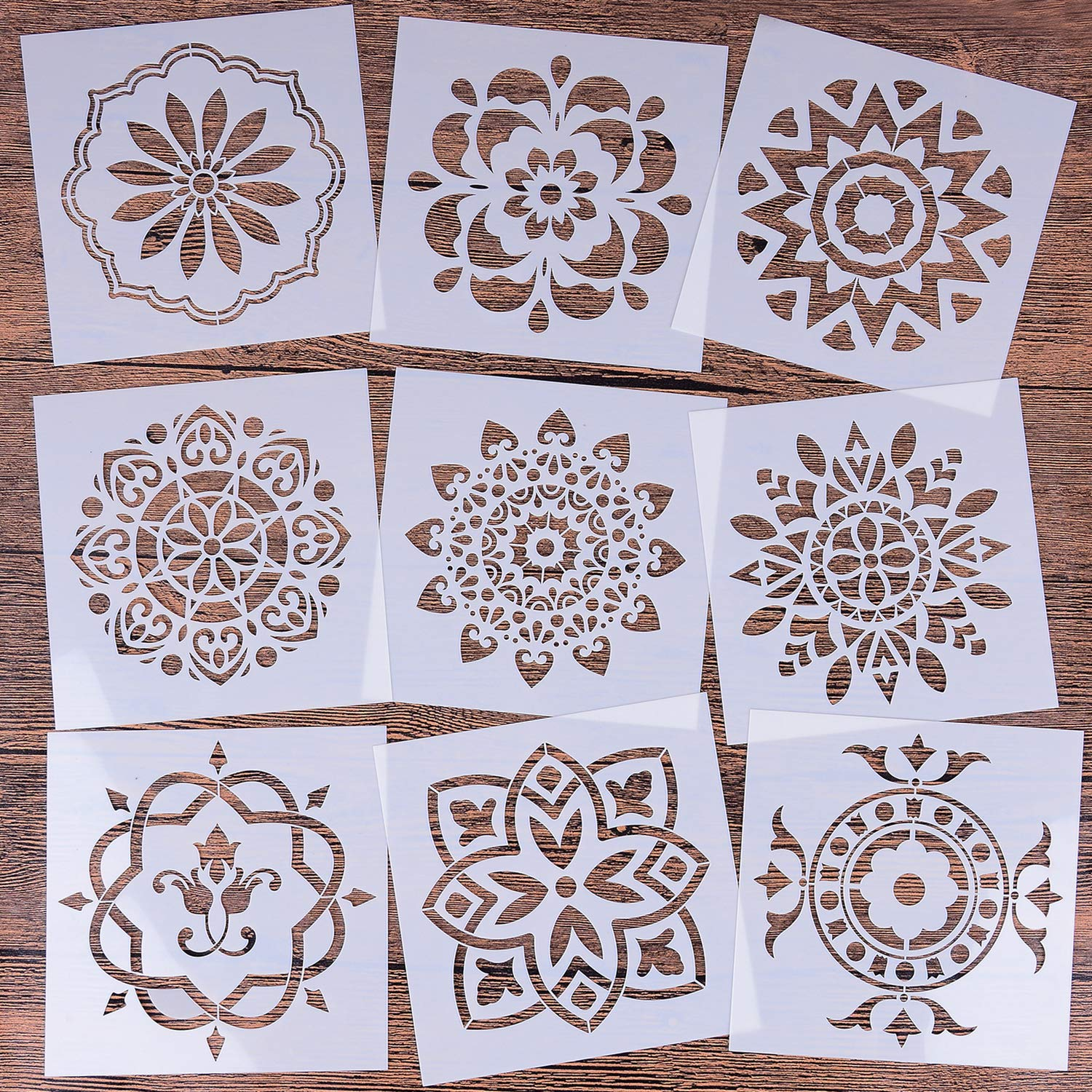 LOCOLO Mandala Reusable Stencil Set of 9 (6x6 inch) Painting Stencil, Laser Cut Painting Template for DIY Decor, Painting on Wood, Airbrush, Rocks and Walls Art by LOCOLO