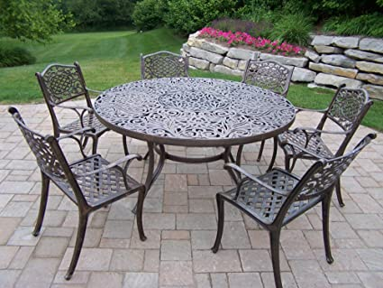 Amazoncom Oakland Living Mississippi Piece Dining Set With - 7 piece outdoor dining set round table