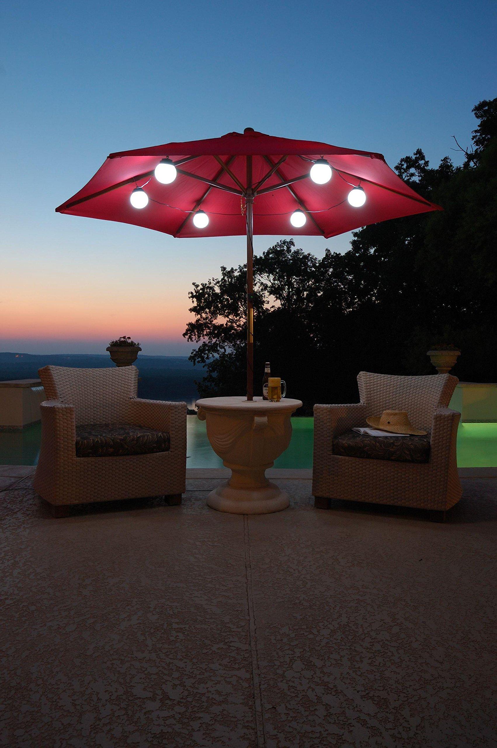 6 Globe Bright White LED SOLAR Powered Umbrella Lights