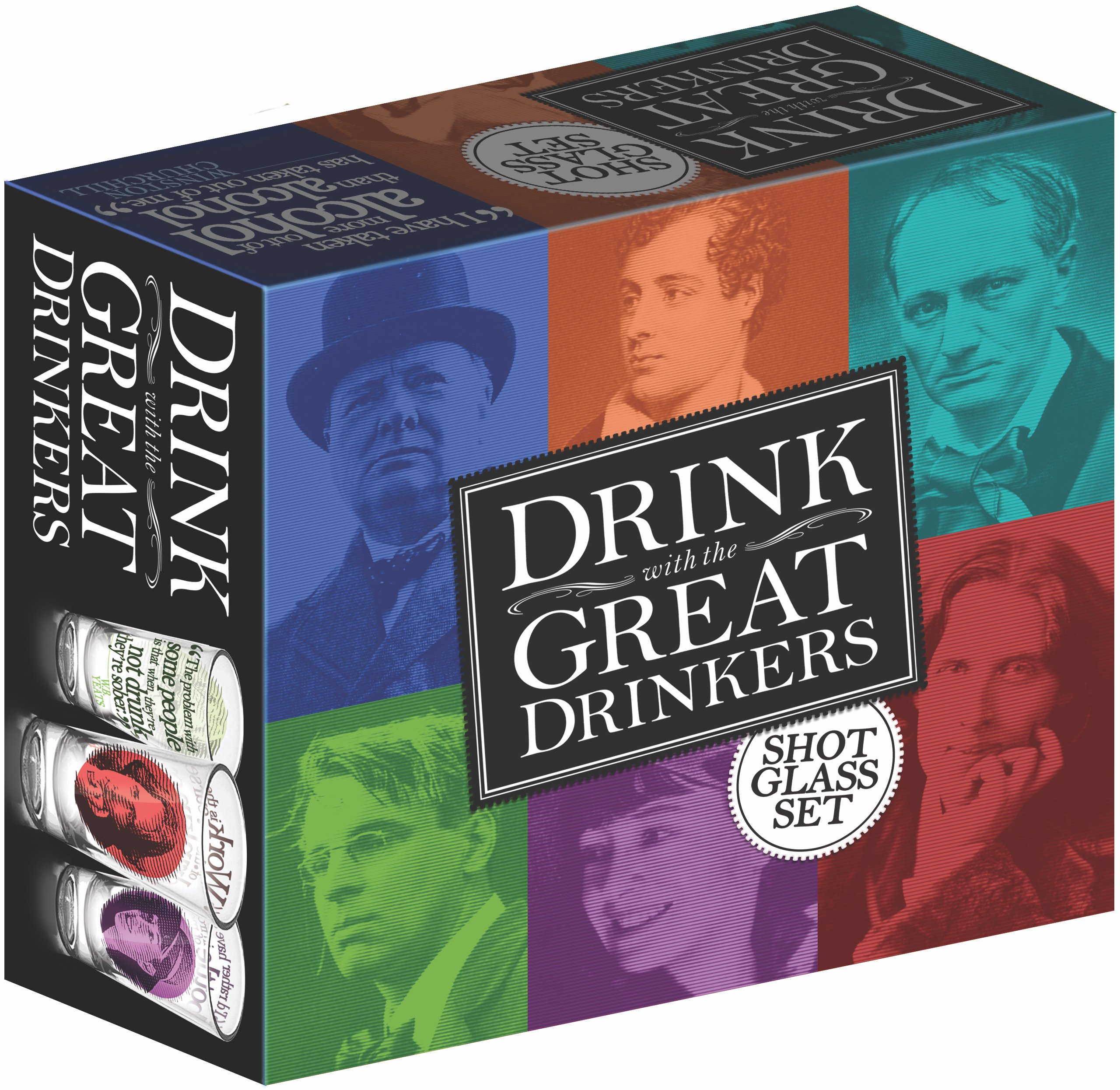 The Unemployed Philosophers Guild Great Drinkers Shot Glasses, Red/Blue/Yellow/Purple/Green/Grey (6-Piece)