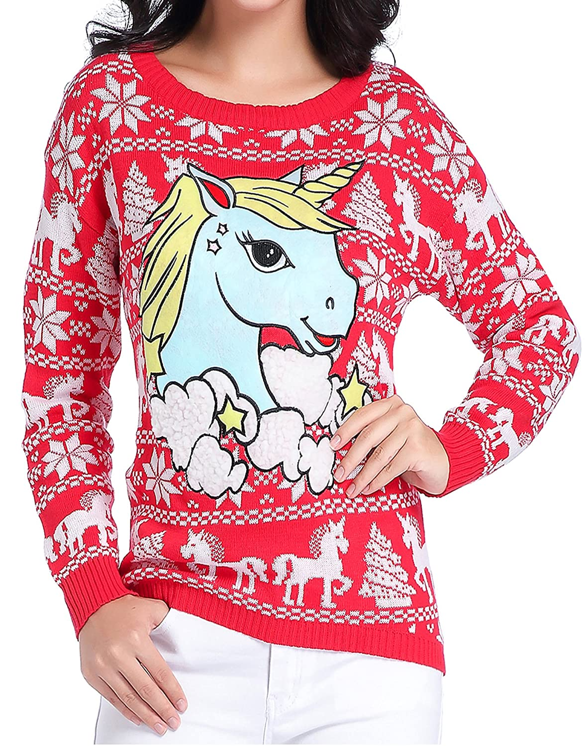 V28 Ugly Christmas Sweater, Women Girl Junior Unicorn Clothes ...