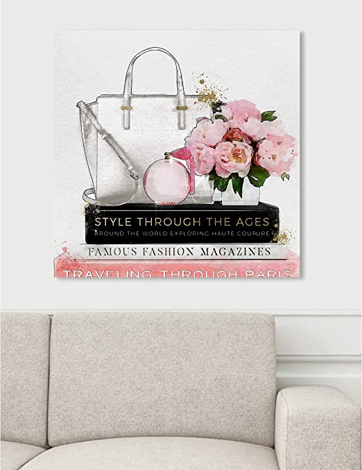 Amazon Com The Oliver Gal Artist Co Fashion And Glam Wall Art Canvas Prints Purse And Essentials Home Decor 24 X 24 Pink White Posters Prints