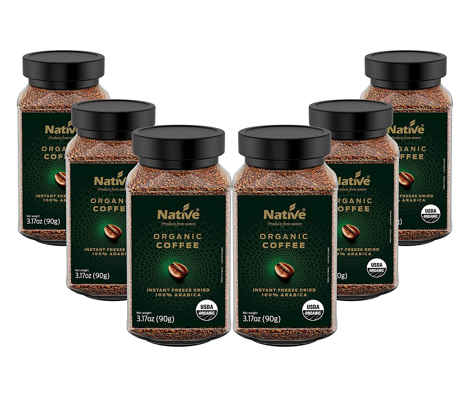 Native Organic Instant Freeze Dried Coffee, 3.17 Ounce (Pack of 6) 91CC-TN-aoL