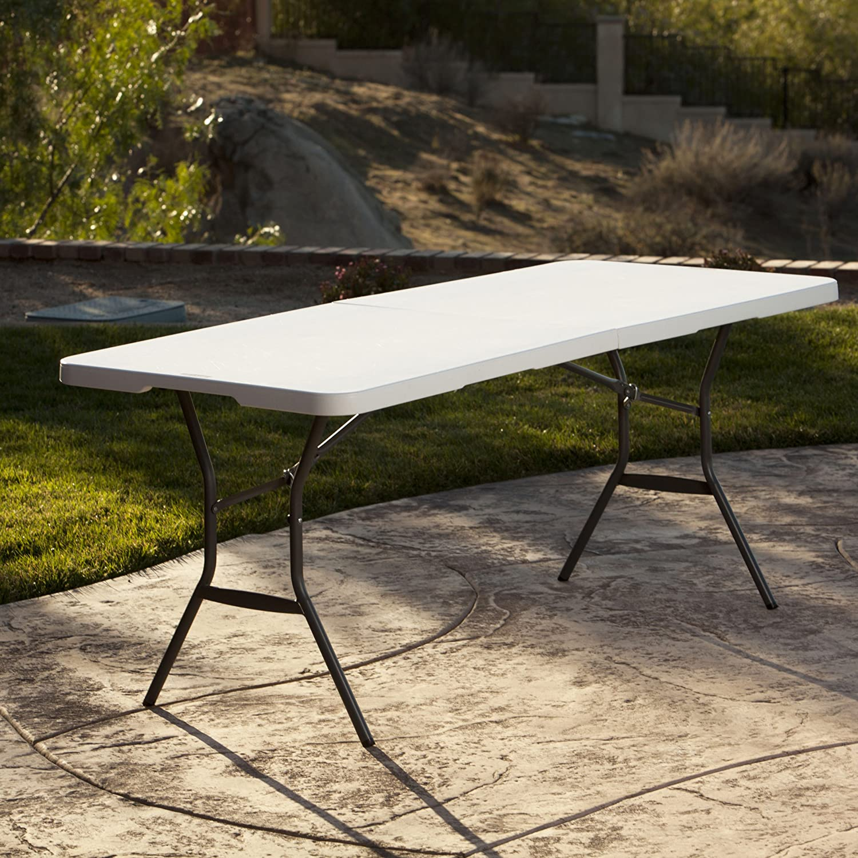 8 ft fold in half table - Amazon Com Lifetime 25011 Fold In Half Commercial Table 6 Feet White Granite Patio Lawn Garden