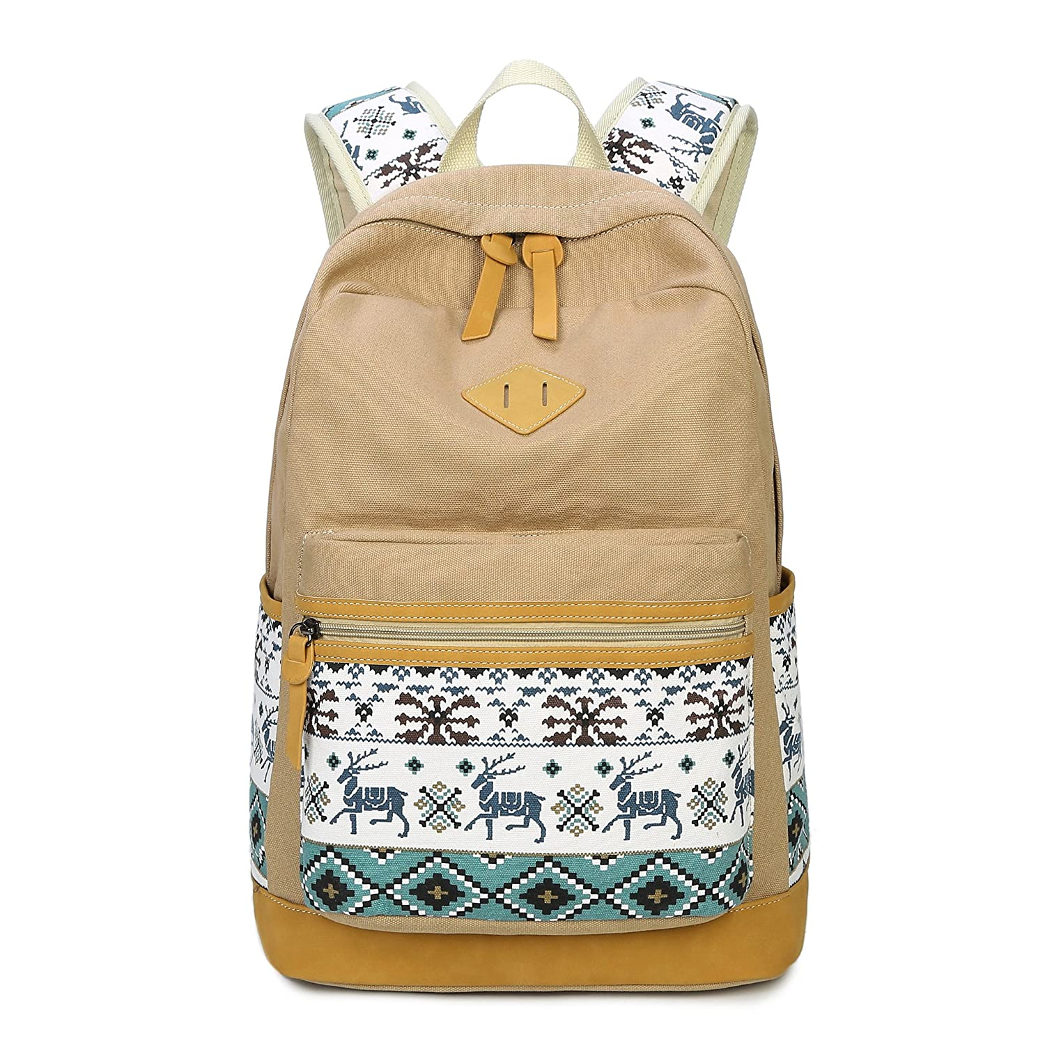 8818Beige SuStore School Backpack Canvas Bookbags Classic Schoolbag for Teens Girls High School (CVB1801Black)