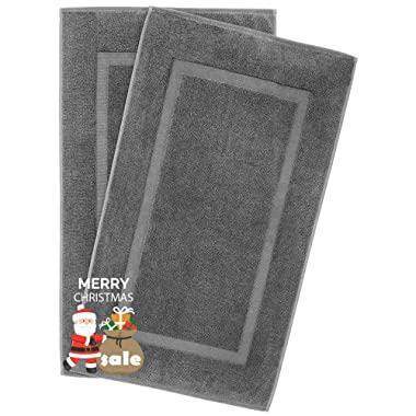 900 GSM Machine Washable 20x34 Inches 2-Pack Banded Bath Mats, Luxury Hotel and Spa Quality, 100% Ring Spun Genuine Cotton, Maximum Softness and Absorbency by United Home Textile, Charcoal Grey