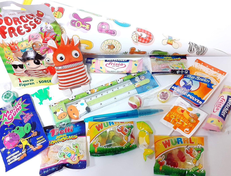 101602 Gefüllte Schultüte 35cm Biff für Schulanfang zum Verschenken Zuckertüte gefüllt mit Spielzeug & Schulbedarf