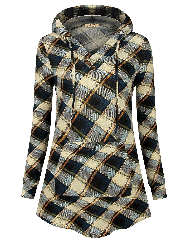 53 bluee Beige Timeson Women's Long Sleeve TShirt V Neck Plaid Lightweight Thin Tunics with Pocket