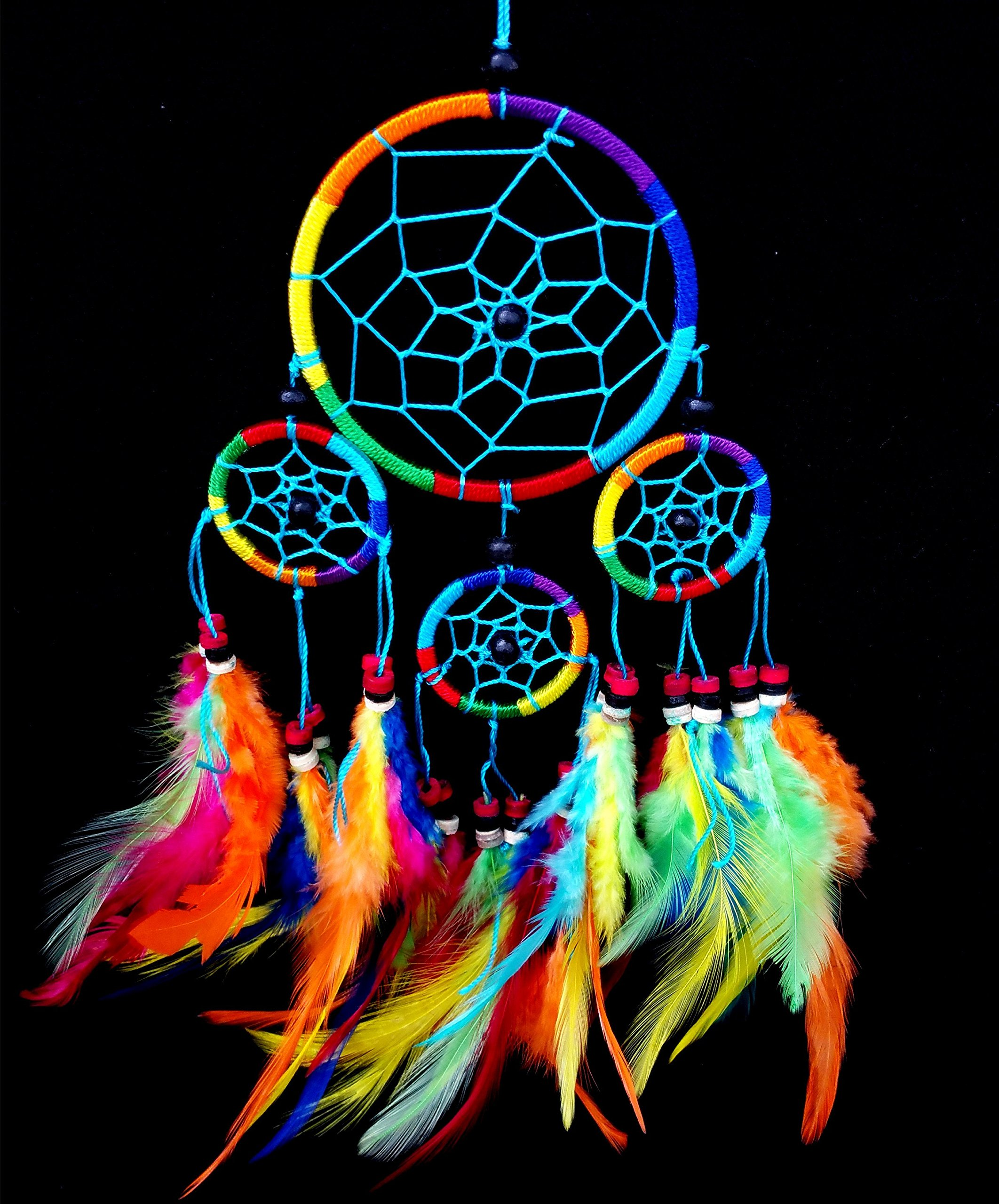Beautiful Handmade Dream Catcher Hanging Ornament (With a Betterdecor Gift Bag)--- Bright Multi Colors (Rainbow)