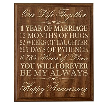 LifeSong Milestones 1st Wedding Anniversary Wall Plaque Gifts for Couple,  1st Anniversary Gifts for Her,1st Wedding Anniversary Gifts for Him 12\