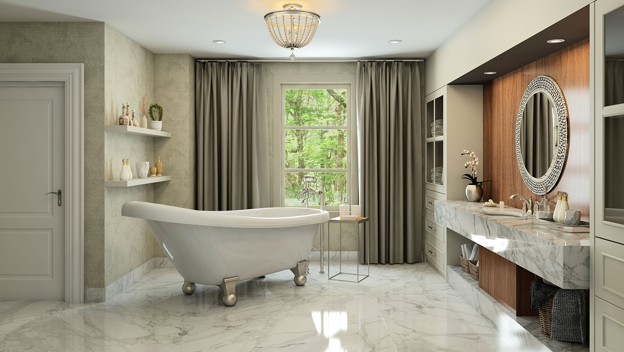 Luxury 60 inch Modern Clawfoot Tub in White with Stand-Alone Freestanding Tub Design, Includes Modern Brushed Nickel Cannonball Feet and Drain, From The Brookdale Collection by Pelham & White (Image #2)