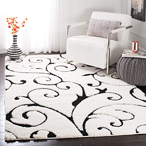 Safavieh Florida Shag Collection SG455-1290 Scrolling Vine Ivory and Black Graceful Swirl Area Rug 6 x 9