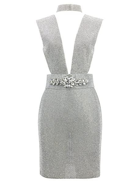 f1566e6749 S Curve Women s Sleeveless Deep V Neck Rhinestone Mini Dress with Crystal  Floral Belt Silver X