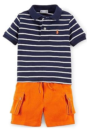 Ralph Lauren bebé niños de rayas Polo camisa y pantalón corto ...