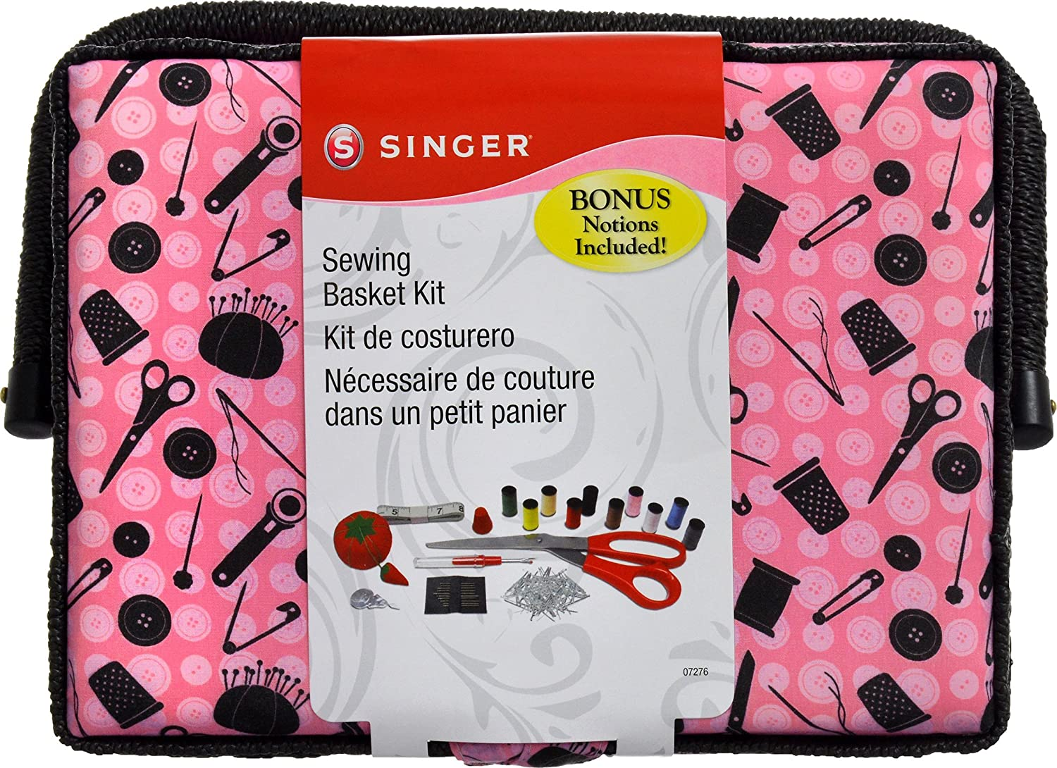 Pink /& Black SINGER 07276 Sewing Basket with Sewing Kit Accessories