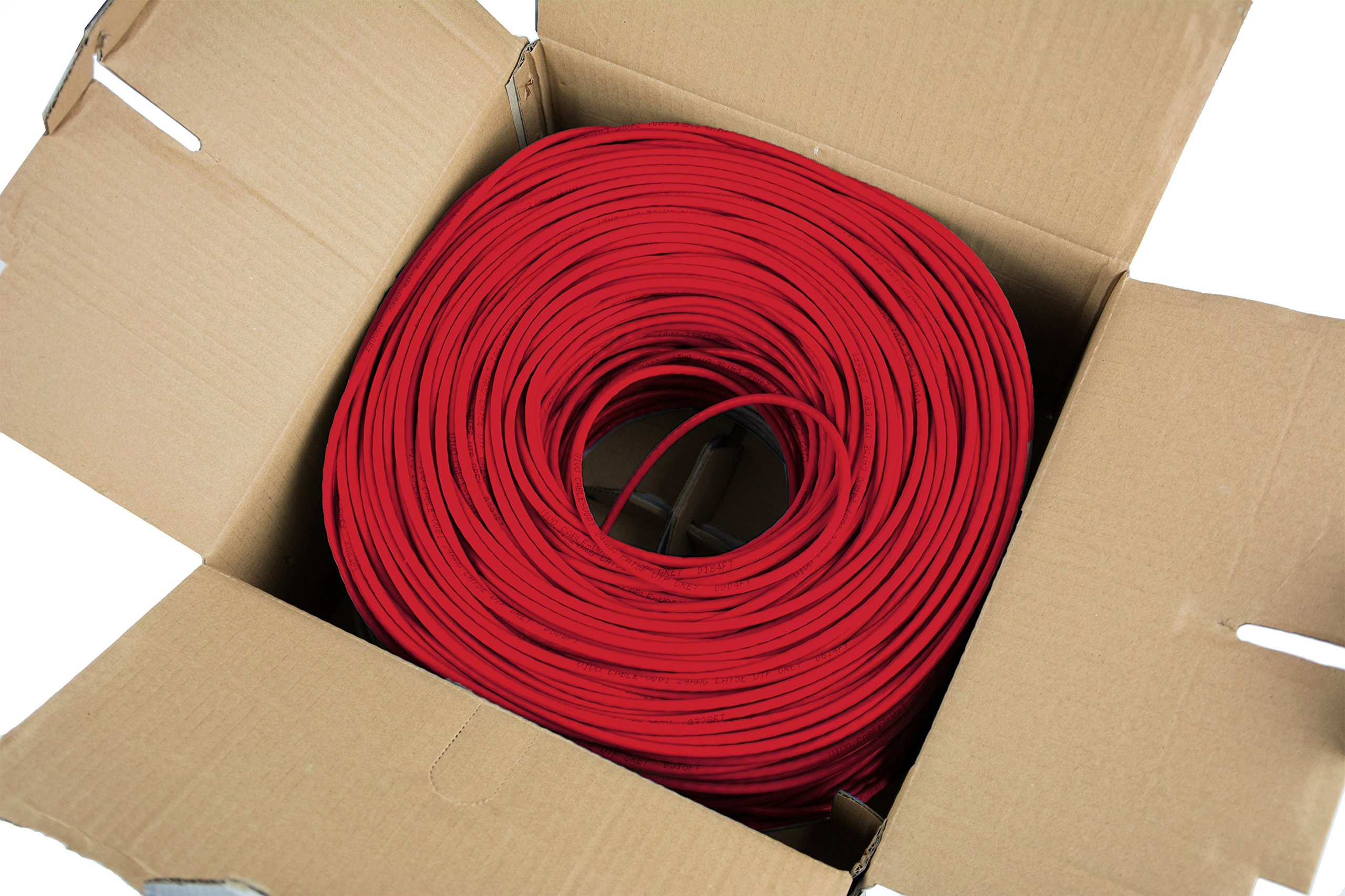 VIVO Red 1,000 ft bulk Cat5e Ethernet Cable/Wire UTP Pull Box 1,000ft Cat-5e Style (CABLE-V001R) by VIVO (Image #2)