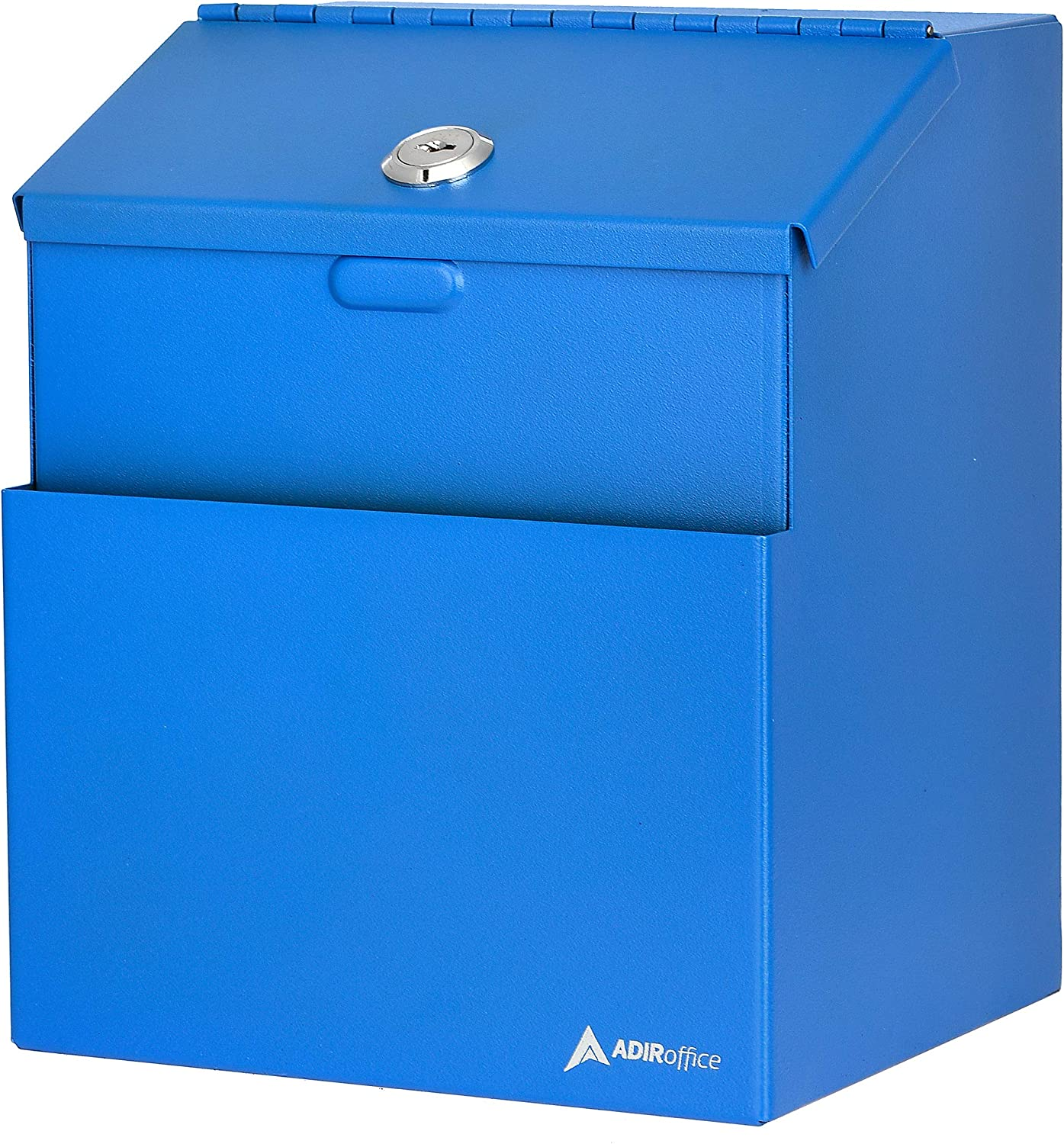 Adir Wall Mountable Steel Suggestion Box with Lock - Donation Box - Collection Box - Ballot Box - Key Drop Box (Blue) with 25 Suggestion Cards
