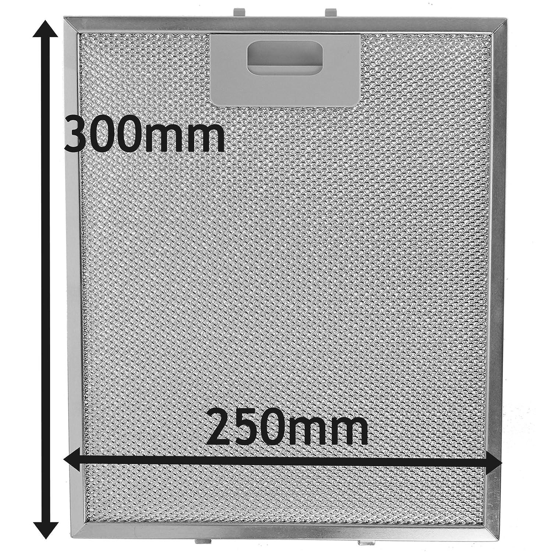 Spares2go Malla Metálica Filtro para Bauknecht campana extractora/extractor ventilación (plata, 300x 250mm)