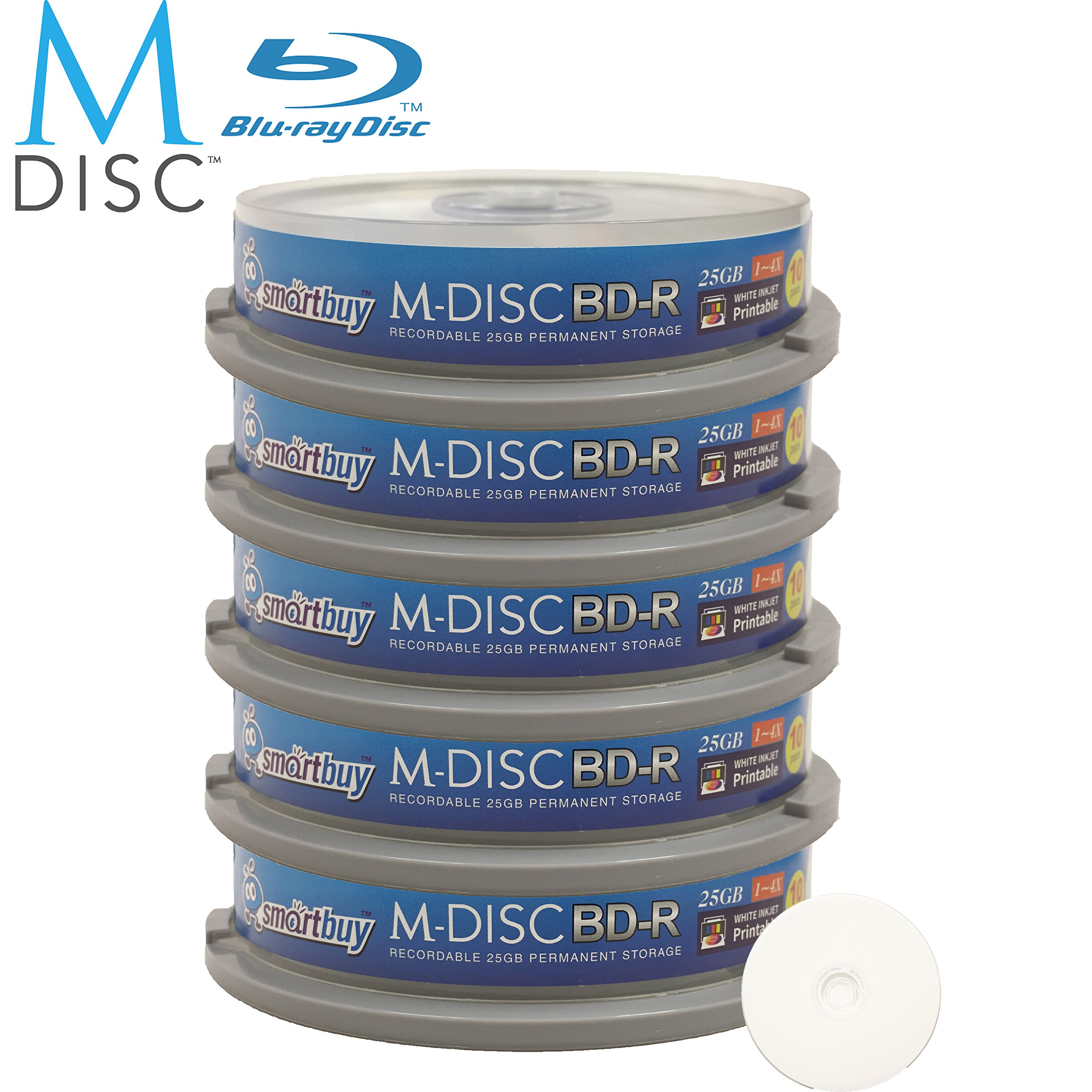 50 Pack Smartbuy M-Disc BD-R 25GB 4X HD White Inkjet Printable 1000 Year Permanent Data Archival / Backup Blank Media Recordable Disc