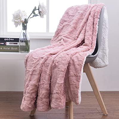 Tache Home Fashion Baby Girl Blush Gold Super Soft Warm Faux Fur Sherpa Throw Blanket, 50x60, Dusty Rose: Home & Kitchen