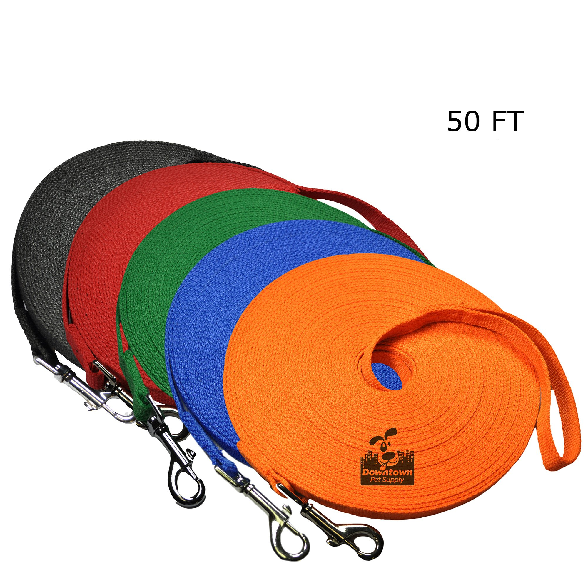 Downtown Pet Supply Long Dog Puppy Obedience Recall Training Agility Lead, Leash - ORANGE, 50' Foot - by