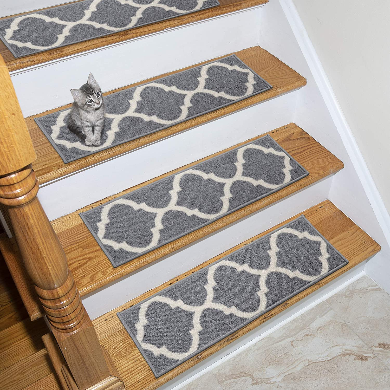 Ottomanson Ottohome Collection Stair Tread, 8.5 X 26 Pack of 7, Gray OTH3033-7