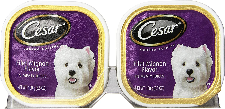 CESAR Canine Cuisine Filet Mignon Flavor Dog Food Trays 3.5 Ounces (Pack of 24)