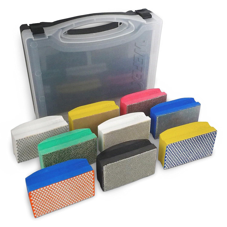 WEFEX Diamant-Handschleifpad Set 9-tlg. im Koffer fü r Granit, Natursteine, Kunststeine, Marmor, Glas, Keramik