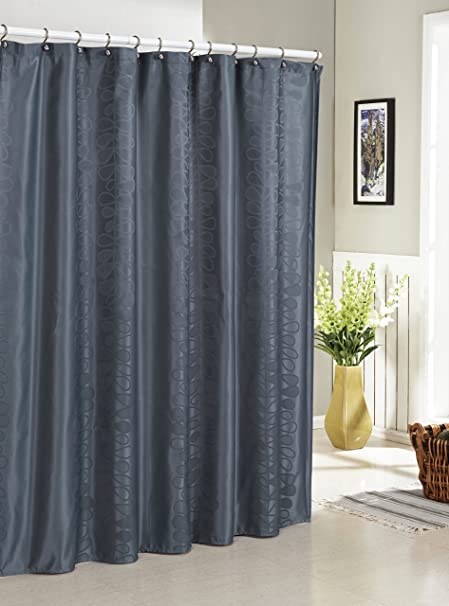 Slate Blue Jacquard Fabric Shower Curtain Vertical Accent Amazoncouk Kitchen Home