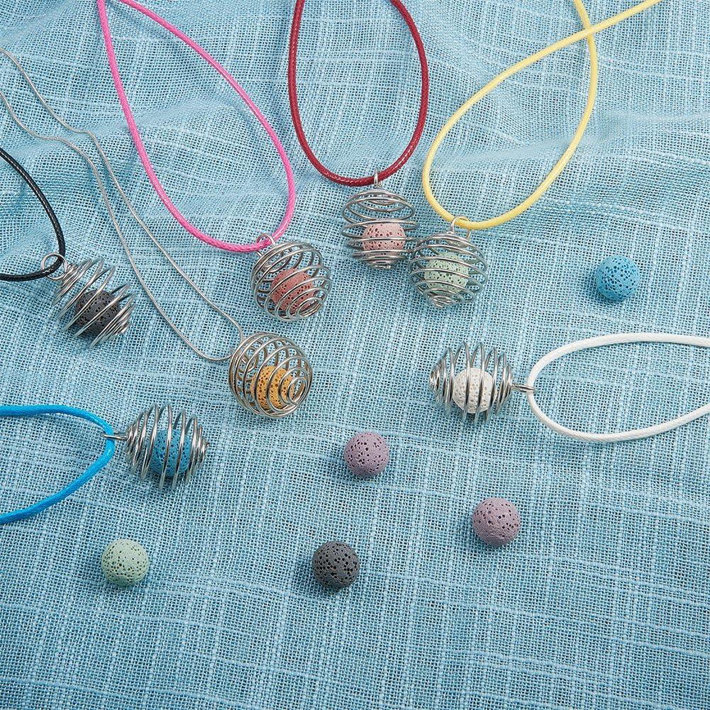 Kunstleder Halskette Cords und Messing Schlangenkette Fine Halskette 25x29mm mit Eisen Wrap-Around Spiral Bead K/äfige Loch: 6mm PandaHall Elite /& reg Halsketten Gemischte Farbe