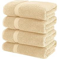 White Classic Luxury Bath Towels Large - Cotton Hotel spa Bathroom Towel | 27x54 | 4 Pack | Beige