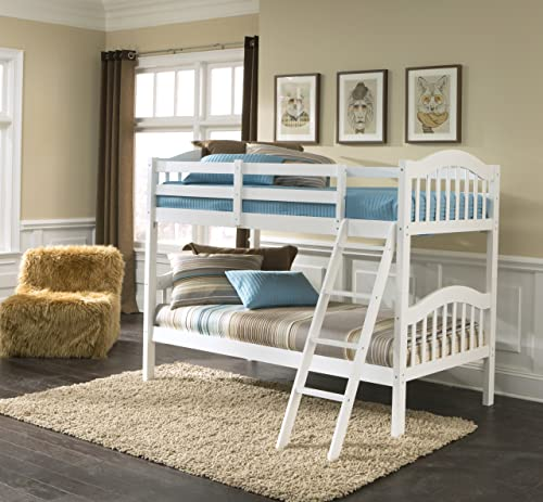 Storkcraft Long Horn Solid Hardwood Twin Bunk Bed, White Twin Bunk Beds for Kids with Ladder and Safety Rail